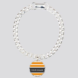 Orange and White Stripes Personalized Charm Bracel