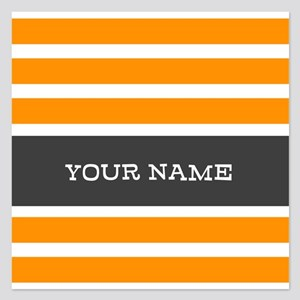 Orange and White Stripes Personalized 5.25 x 5.25