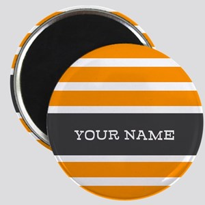 Orange and White Stripes Personalized Magnet