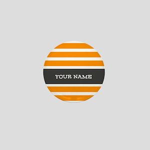 Orange and White Stripes Personalized Mini Button