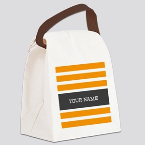 Orange and White Stripes Personalized Canvas Lunch