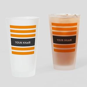 Orange and White Stripes Personalized Drinking Gla
