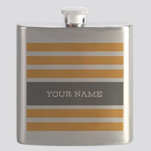 Orange and White Stripes Personalized Flask