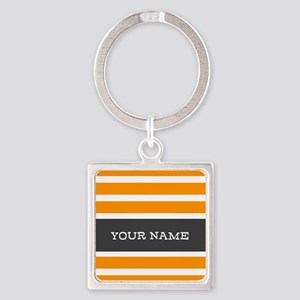 Orange and White Stripes Personalized Square Keych