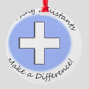 Nursing Assist MAKE A DIFF Round Ornament