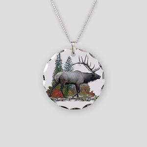Bull elk r Necklace Circle Charm