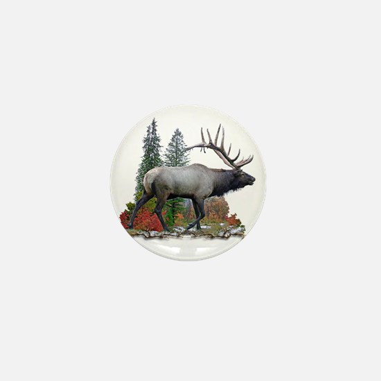 Bull elk r Mini Button