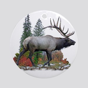 Bull elk r Round Ornament