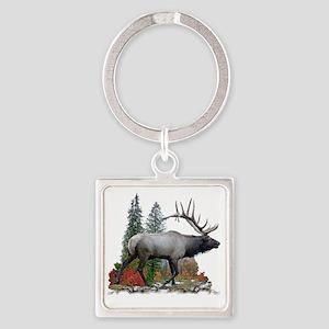 Bull elk r Square Keychain