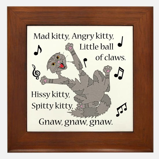 Mad Kitty Angry Kitty Framed Tile