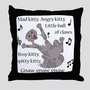 Mad Kitty Angry Kitty Throw Pillow