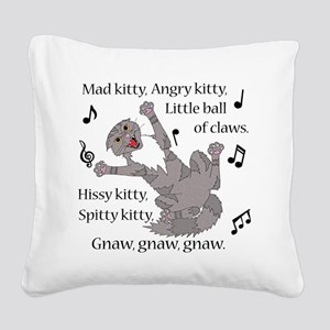 Mad Kitty Angry Kitty Square Canvas Pillow