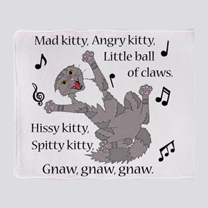 Mad Kitty Angry Kitty Throw Blanket