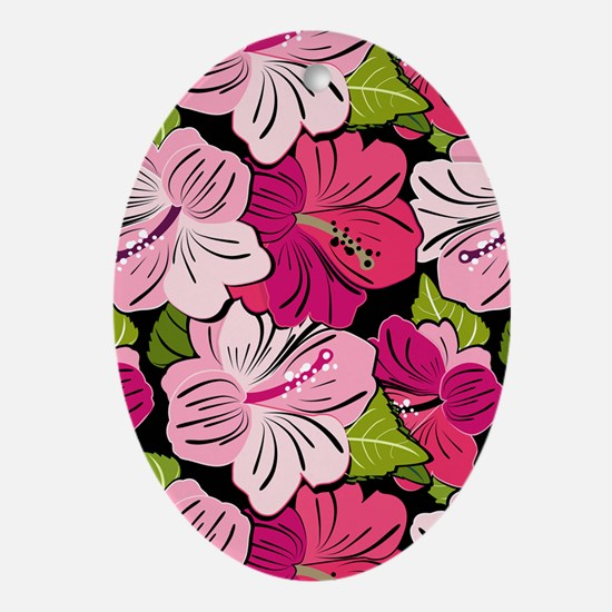Pink Hibiscus Kindle Cover Oval Ornament