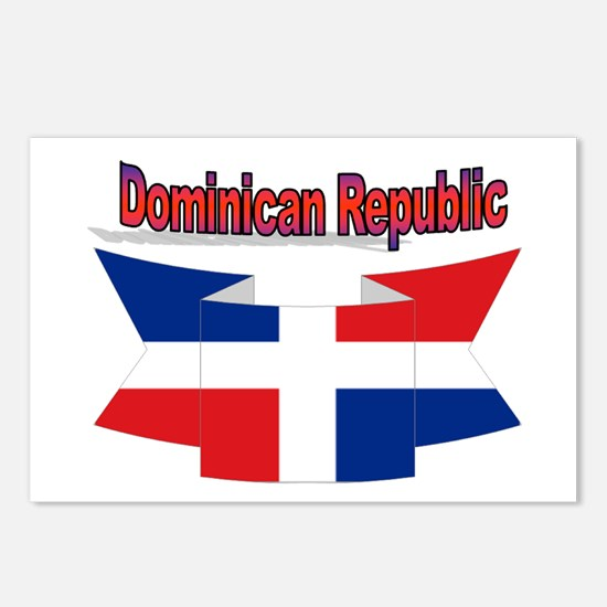 The Dominican republic flag ribbon Postcards (Pack