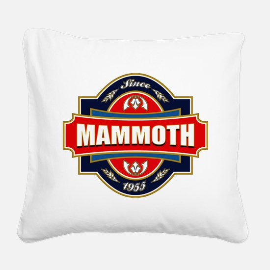 Mammoth Mtn Old Label Square Canvas Pillow