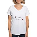 I Hate Cramps Women's V-Neck T-Shirt