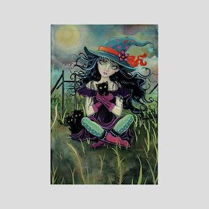 Kitten Witch Halloween Rectangle Magnet