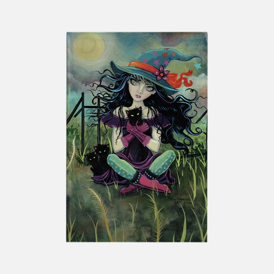 Kitten Witch Halloween Rectangle Magnet