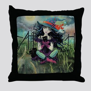 Kitten Witch Halloween Throw Pillow