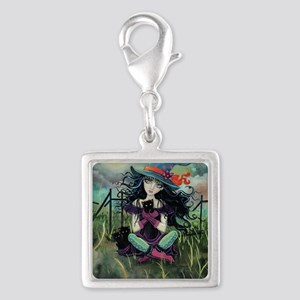 Kitten Witch Halloween Silver Square Charm
