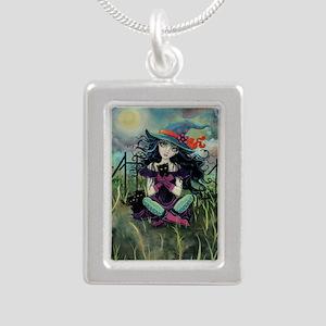 Kitten Witch Halloween Silver Portrait Necklace