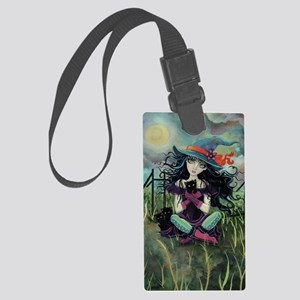Kitten Witch Halloween Large Luggage Tag