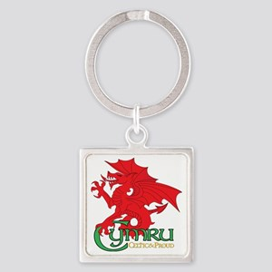 Celtic and Proud Apperal Cymru 2 Square Keychain