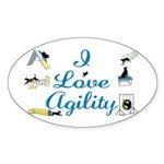 I Love Agility Oval Sticker