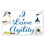 I Love Agility Rectangle Sticker