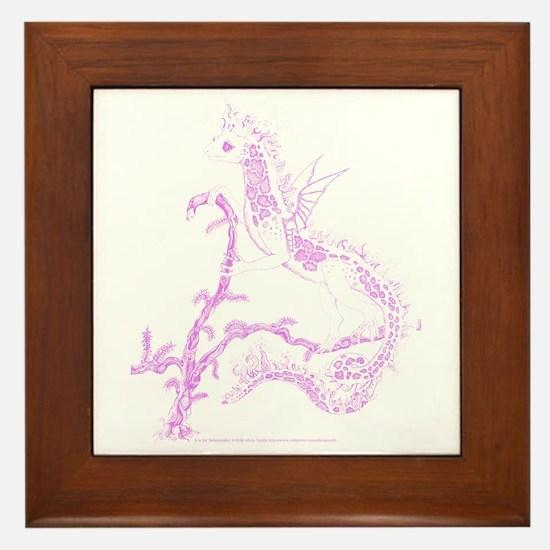 Pink Salamander Framed Tile
