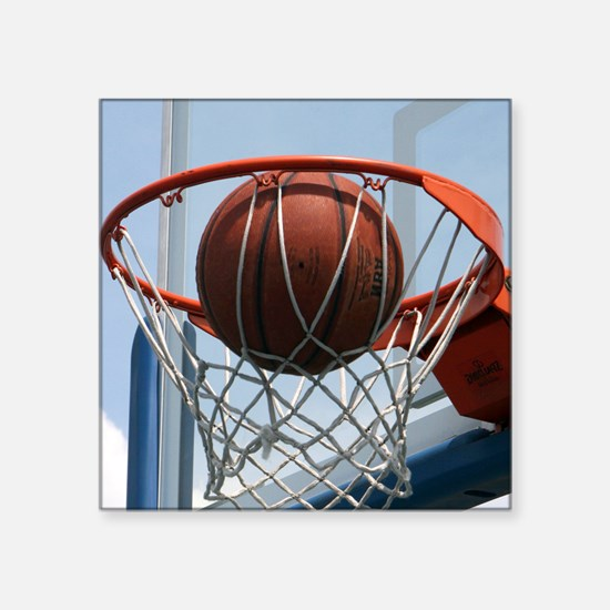 "baskertball Square Sticker 3"" x 3"""