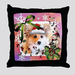 Pembroke Corgi Holiday Throw Pillow