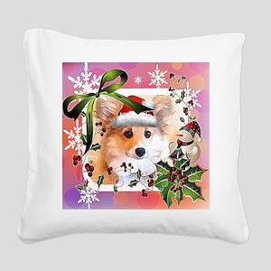 Pembroke Corgi Holiday Square Canvas Pillow