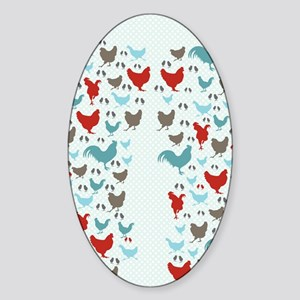flipflops-chickens Sticker (Oval)