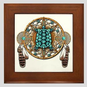 Turquoise Tortoise Dreamcatcher Framed Tile