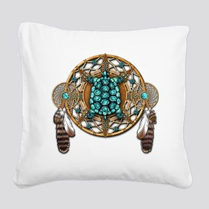Turquoise Tortoise Dreamcatch Square Canvas Pillow