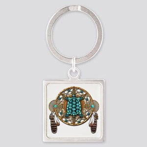 Turquoise Tortoise Dreamcatcher Square Keychain
