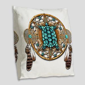 Turquoise Tortoise Dreamcatche Burlap Throw Pillow
