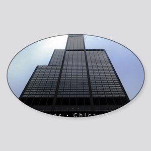 16x20_poster_Willis Tower-black Sticker (Oval)