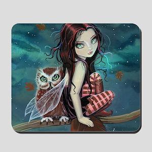 Autumn Owl and Fairy Mousepad