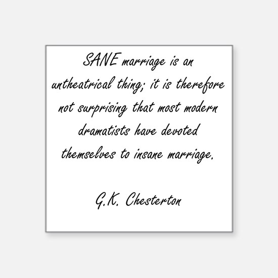 "sane marriage Square Sticker 3"" x 3"""