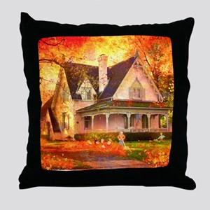 new-CP_leaf pile Throw Pillow