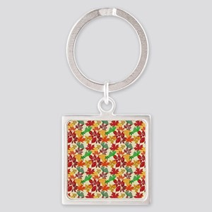 Autumn Leaves Detailed Bright Colo Square Keychain