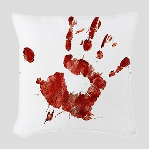 Bloody Handprint Right Woven Throw Pillow