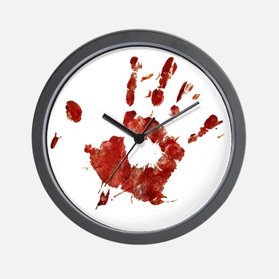 Bloody Handprint Right Wall Clock