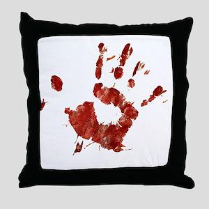 Bloody Handprint Right Throw Pillow