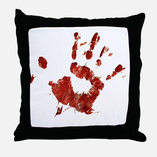 Bloody Handprint Right Throw Pillow