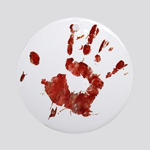 Bloody Handprint Right Round Ornament