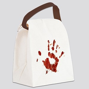 Bloody Handprint Right Canvas Lunch Bag
